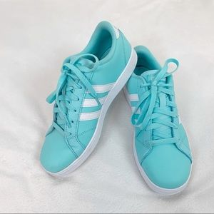 Adidas Neo girls mint green leather sneakers